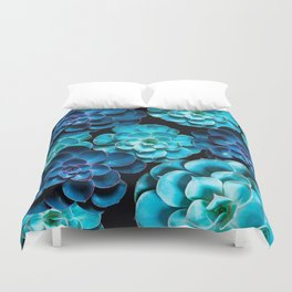 Succulent Plants In Blue And Turquoise Color #decor #society6 #homedecor Duvet Cover