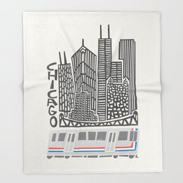 Chicago Cityscape Throw Blanket