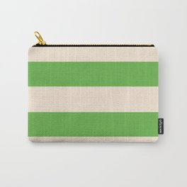 Antique White and Apple Green Stripes Carry-All Pouch