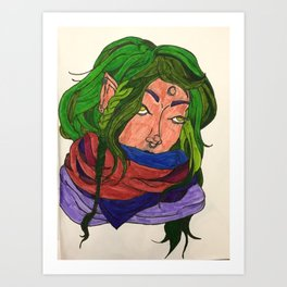 Green Haired Witch Art Print