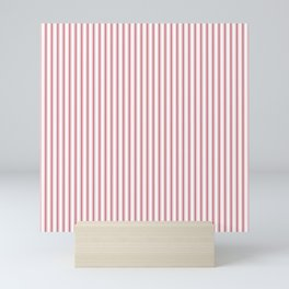 Mattress Ticking Narrow Striped USA Flag Red and White Mini Art Print
