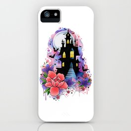 Halloween Spooky Castle Watercolor Design iPhone Case