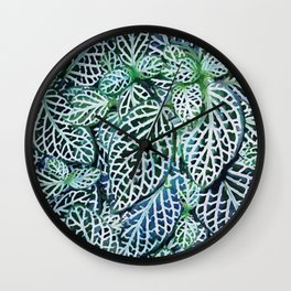 Tropical Leaves Fittonia Nerve Plant #watercolor #decor #society6 #pattern Wall Clock