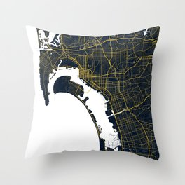 San Diego City Map of the United States - Gold Art Deco Throw Pillow