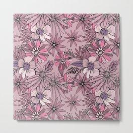 Pink Summer Meadow Metal Print