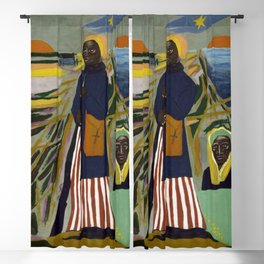 African American Masterpiece 'Experience America Harriet Tubman' by William Johnson Blackout Curtain
