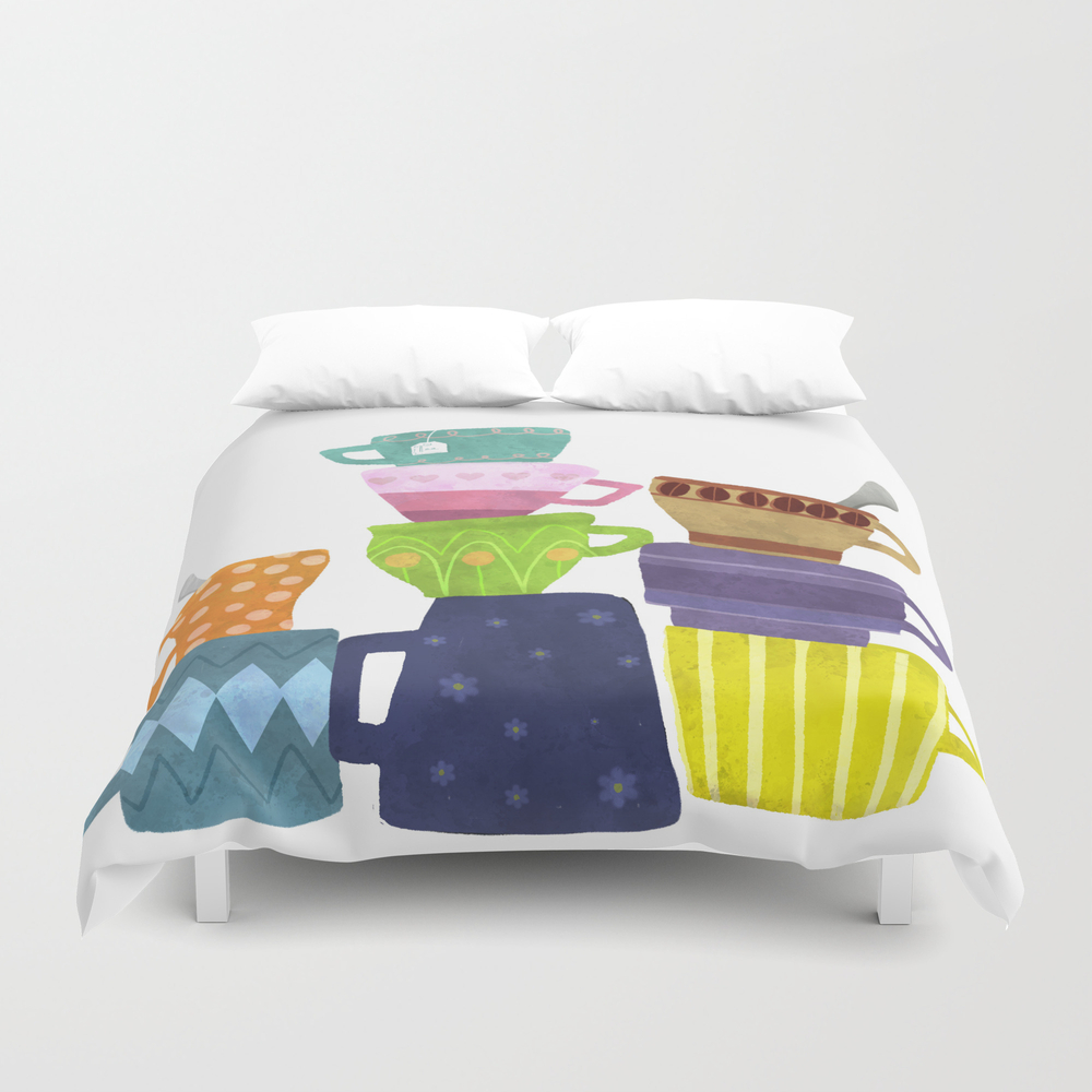 Coffee And Tea Cups And Mugs Stacked High Duvet Cover by Sunnybunny DUV7998753