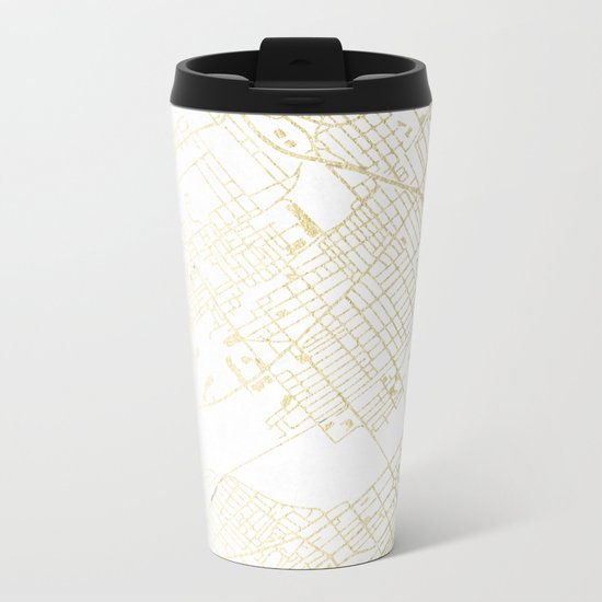 Wilkes-Barre Gold and White Map Metal Travel Mug