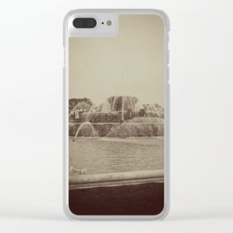Chicago Buckingham Fountain Sepia Photo Clear iPhone Case