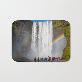 The crowd - Skogafoss, Iceland Bath Mat