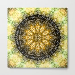 Yellow Firework Mandala Metal Print