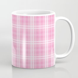 Bright Chalky Pastel Magenta Tartan Plaid Coffee Mug