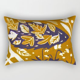 Hedgehog in Autumn Woods - Golden Orange Palette Rectangular Pillow