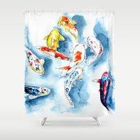 koi Shower Curtains featuring Koi  by Bridget Davidson
