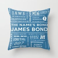 bond Throw Pillows featuring Bond Blue by Candace Fowler Ink&Co.