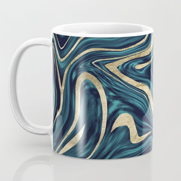 Teal Navy Blue Gold Marble #1 #decor #art #society6 Coffee Mug