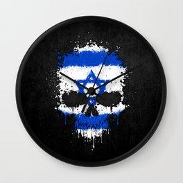 Flag of Israel on a Chaotic Splatter Skull Wall Clock
