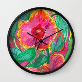 Happiness is Hibiscus Wall Clock