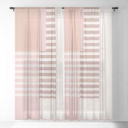 Marfa Abstract Geometric Print in Pink Sheer Curtain