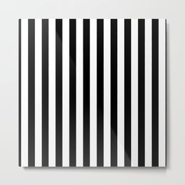 Black and White Even Small Stripes Metal Print