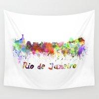 rio de janeiro Wall Tapestries featuring Rio de Janeiro skyline in watercolor by Paulrommer