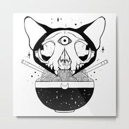 Raman Noodle Bowl With Third Eye Cat Skull Metal Print