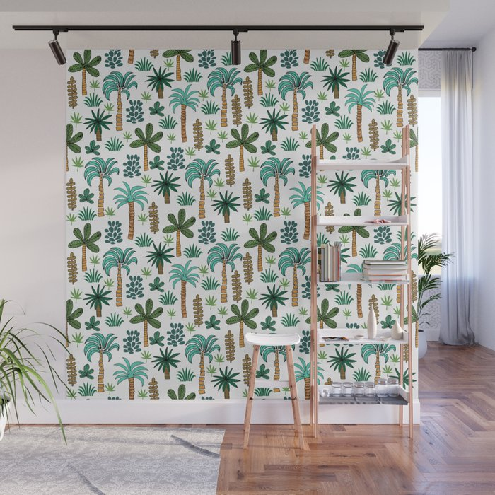 Tropics palm trees pattern print summer tropical vacation design by andrea lauren Wall Mural