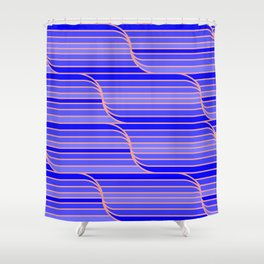 Geo Stripes - Cobalt Blue Shower Curtain