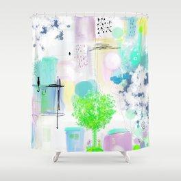 Peinture  tons pastels chat oiseau maisons arbre bulles Shower Curtain