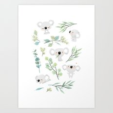 Koala and Eucalyptus Pattern Art Print
