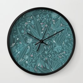 Floral Weave Teal Wall Clock