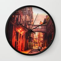 new york city Wall Clocks featuring New York City Alley by Vivienne Gucwa