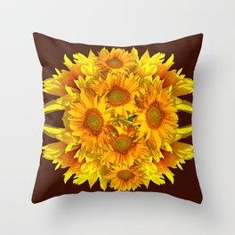 YELLOW SUNFLOWERS CHOCOLATE GARDEN ART Throw Pillow