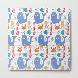 Doodle Sea Animals Pattern Metal Print