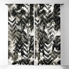 Black & White Chevron Ink Spill Blackout Curtain