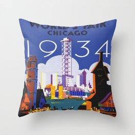 1934 Chicago World's Fair Travel Poster Throw Pillow