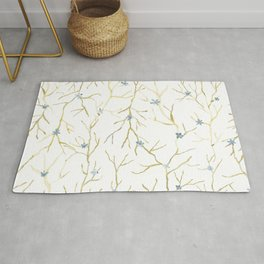 Spring naked branches with blue little flowers Rug