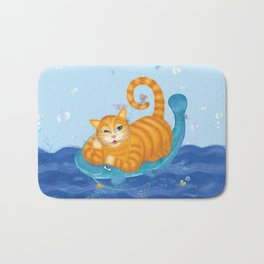Orange tabby cat & blue catfish  Funny kids illustration Bath Mat