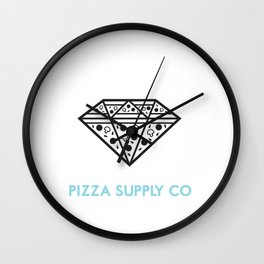 Pizza Supply Co (w/background) Wall Clock