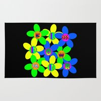 60s Area & Throw Rugs featuring Flower Power 60s-70s by dedmanshootn