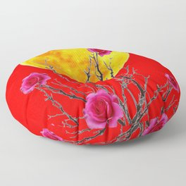 RED SURREAL FULL MOON & PINK WINTER ROSES Floor Pillow