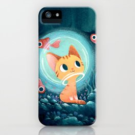 Ginger cat and fishes iPhone Case