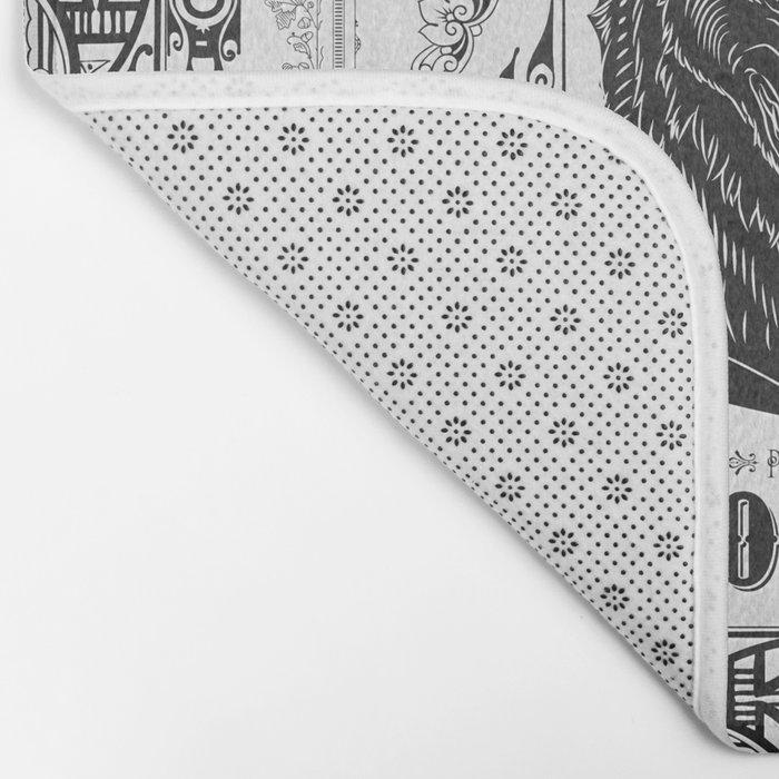 Mononoke Hime Wolf Pride Letterpress Line Work Bath Mat