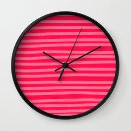 Fuchsia Brush Stroke Stripes Wall Clock