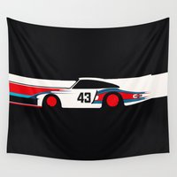 moby dick Wall Tapestries featuring Moby Dick - Vintage Porsche 935/70 Le Mans Race Car by Cale Funderburk