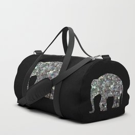 Sparkly colourful silver mosaic Elephant Duffle Bag