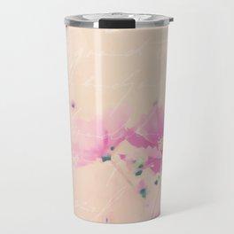 Pastel Pink Flowers mixed media art Travel Mug