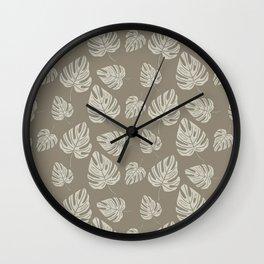 Cream Monstera Leaves on Tan Wall Clock