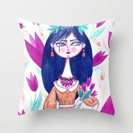 Miss Tulip Throw Pillow