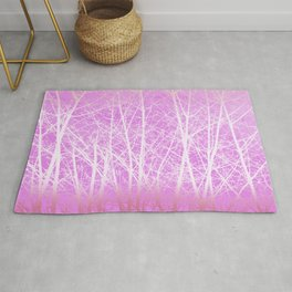 Frosted Winter Branches in Misty Pink Rug